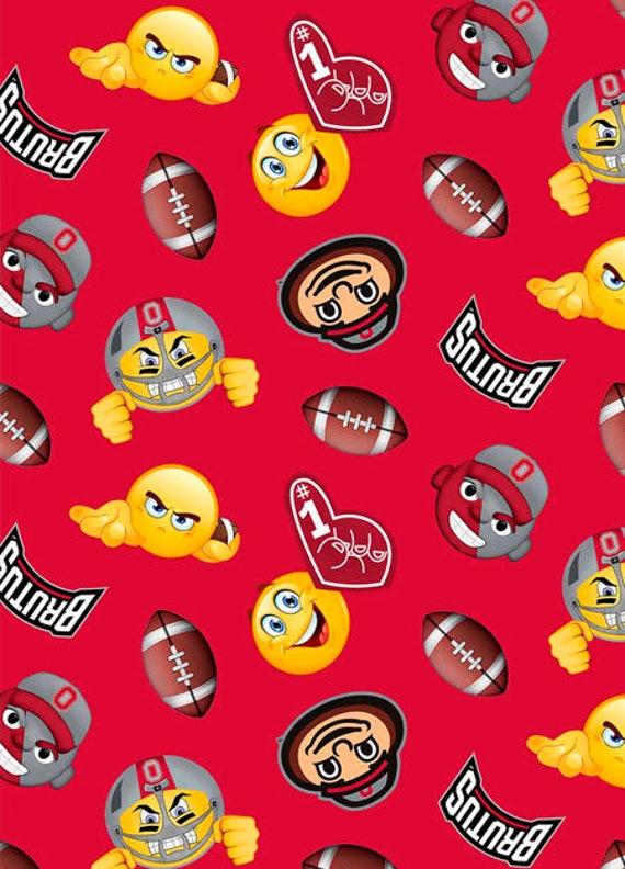 Ohio state buckeyes fleece blanket fabric with emoji for Emoji material by the yard