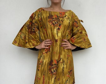 Amazing 60s tribal print flutter sleeve shift dress