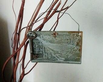 Handmade Hand Patinated Metal Art/Door Hanger/Ornament, Vintage Key, Stamped