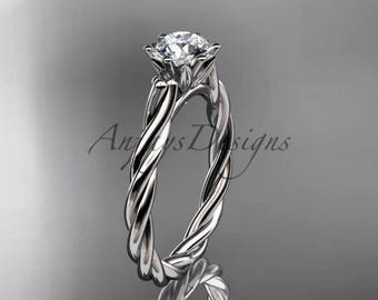 "Platinum rope engagement ring with a ""Forever One"" Moissanite center stone RP835"