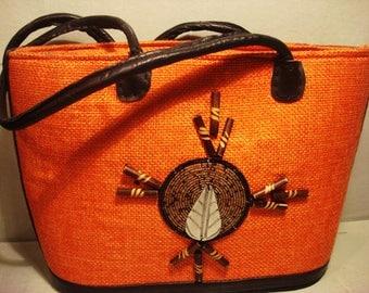 Vintage Vibrant Orange Dream Catcher Boho Gypsy Handbag