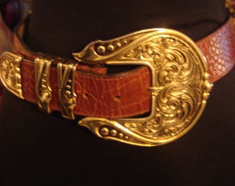 Vintage 1990s Red Tan Belt with Large Ornate Buckle