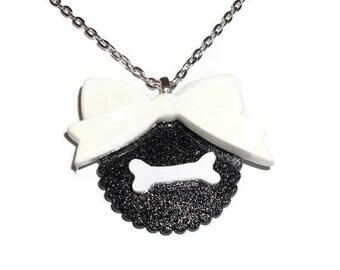 Creepy Bone Necklace, Kawaii White Bow Black Glitter Necklace
