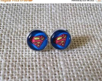 Superman Earrings, Comic Book Studs, Superheo