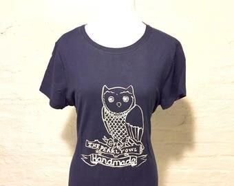 Womens T-shirt - Screen Printed, The Pearly Owl, Handmade