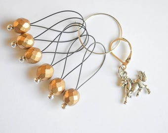 Horse Progress Keeper with Gold Beaded Stitch Markers Set Knitting Notions Gifts for Knitters