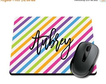 ON SALE NOW Neon Rainbow Personalized Printed Mouse Pad / Office Accessories / Desk Accessories / Mousepad / Girly Mousepad / Monogram Mouse