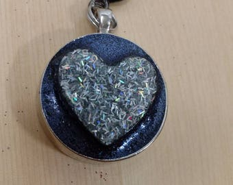 Large 2in Glitter Heart Keychain
