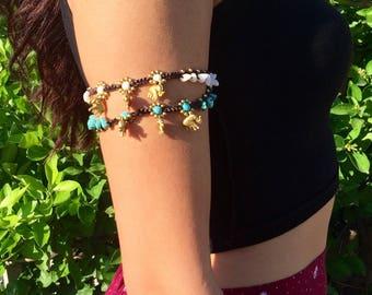 Turquoise armlet arm band, upper arm cuff, best selling items, boho elephant jewelry, Handmade beach jewelry,anklet, PiYOYO
