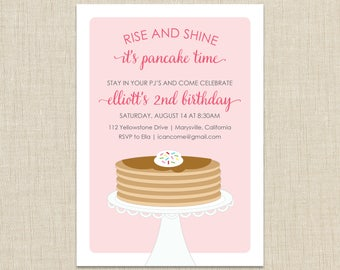 Pancakes and Pajamas Birthday Party Invitation. Rise and Shine invitation. Breakfast invitation
