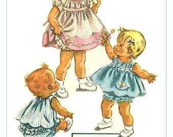 McCall's 2145 Gorgeous Vintage 50s Toddler Girl's Dress, Smock & Ruffled Panties - Angel Tsfr - Sewing Pattern Size Size 1