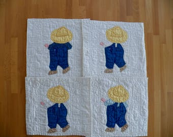 """4 Vintage Hand Quilted 1930's Quilt Blocks with Appliqued """"Overall Sam""""  pattern"""