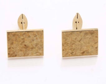 Vintage 14k yellow gold Rectangle Cufflinks Matte Men's Estate
