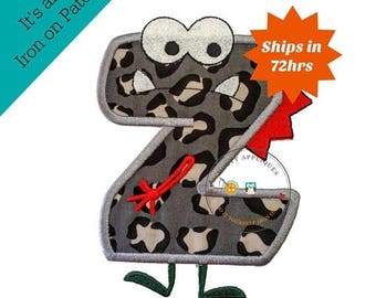ON SALE NOW Monster letter Z applique, initial embroidered patch, bright iron on applique letter, iron on letter embellishment, iron on mono