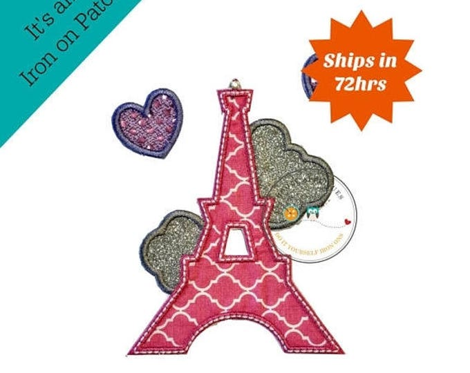 ON SALE NOW Quatrefoil pink iron on Eiffel tower patch with sequin and glitter hearts, glitter embroidery iron on patch, Paris tower iron on
