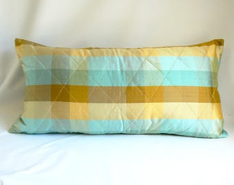 """Turquoise and gold plaid, 14"""" x 26"""" Pillow"""