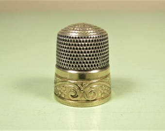 Sterling Gold Band Thimble - Vintage Simons Bros Scroll