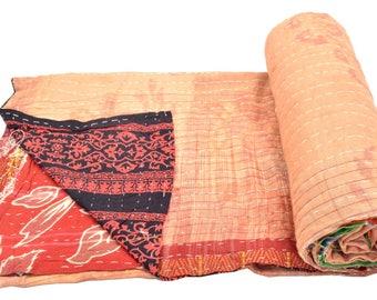 Vintage Kantha Quilt Gudri Reversible Throw Ralli Bedspread Bedding India OG1035
