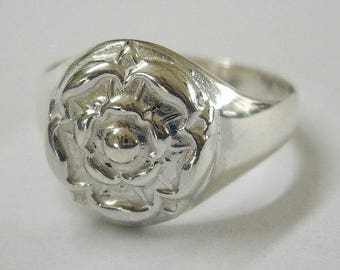 Handmade Sterling Silver Tudor Rose Signet Ring (any size)