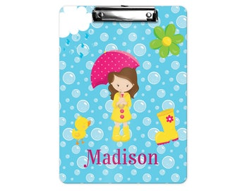 Personalized Kids Clipboard - April Showers Girl Pink Umbrella Blue Bubbles, Single Sided or Double Sided Custom Clipboard Back to School