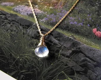 Rainbow Moonstone Necklace, Wire Wrapped in 14 KT GF, Briolette Moonstone Pendant, Blue Flash, Stone of New Beginnings, AAAAA Quality