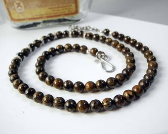 Australian Boulder Opal Necklace, Brown Beaded Necklace, 6 mm beads, Rare Australian, Ironstone Beads, 19 to 20 Inch, Grounding Stone