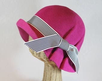 Pleated Cloche Hat in Bright Pink Velour Felt  ~ Ingrid ~ rain hat, 30s, Bergman ~ handmade by Bonnet, local Portland millinery