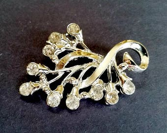 Vintage 50's Large Paste Rhinestone Silver Tone Brooch Pin Vtg Bling Cocktail Formal Glamour Girl Flower Buds on Branch