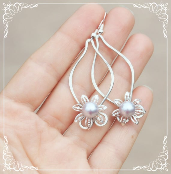 Pearl earrings Braidsmaids gift Bridal Wedding Flower Silver Delicate cute Simple Fairy jewelry Gift for wife/her Handmade with love