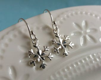Silver Snowflake Earrings. Sterling Silver Snowflake Charm. Winter Jewelry. Sterling Snow Flake. Christmas Jewelry. Christmas Gift