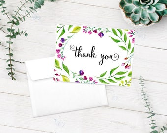 Thank You Card Printable Download Purple Florals Flowers 5.5 x 4 inch