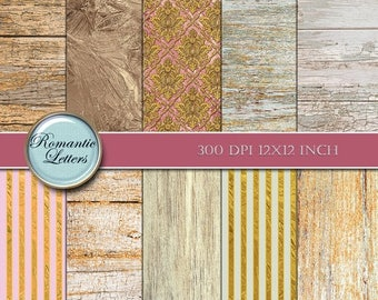 Sale 60% Digital paper wood digital scrapbook paper gold glitter digital downloads digital wood background victorian digtal paper vintage wo