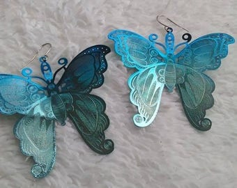Fancy Laser Etched Aluminium Butterfly Earrings