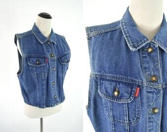 Vintage 1980's 1990's Blue Denim Vest - Retro Grunge Bugle Boy Vest - Cropped Denim Vest - Size medium to large