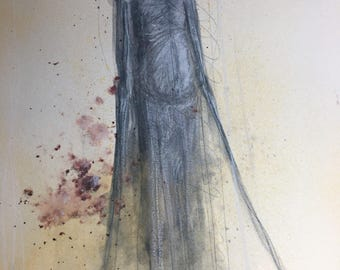 Small Original Horror Painting on Paper FREE US SHIPPING
