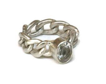 Large White Topaz  Ring, Sterling Silver  White Gemstone Chain Link Ring  Chunky Curb Chain Artisan Handmade  by Sheri Beryl