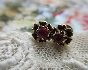 Older Vintage 14K Ruby Earrings - 14K Pierced Earrings Buttercup Sellings - July Birthstone - Ruby Post Earrings - July Birthstone Jewelry