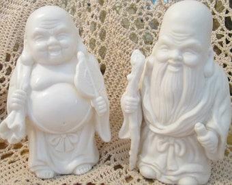 Pair of Vintage Lenwile Ardalt China Buddhas