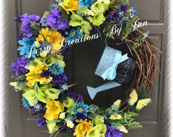 Grapevine Floral wreath with watering can Grapevine Floral wreath
