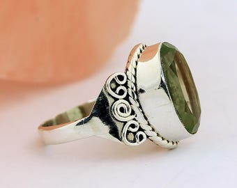 Green Amethyst Ring // 925 Sterling Silver // Ring Size 7 // Handmade Jewelry
