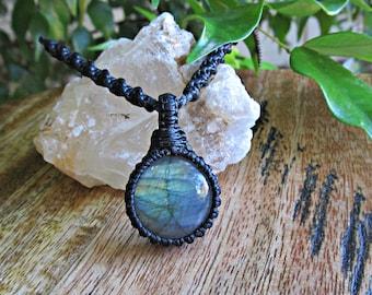 Labradorite Stone Macrame Wrapped Pendant Neckalce - Black Thread