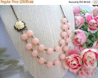 SUMMER SALE Multi Strand Flower Necklace Flower and Bead Light Pink and Off White Ivory Flower Bead Minimalist Vintage Style Antique Bronze