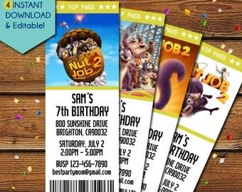 Nut Job 2 Invitation, Nut Job Invitation, Nut Job 2 Birthday Invitation, Nut Job 2 Party Invitation, The Nut Job 2 Movie, Nut Job 2 Invite