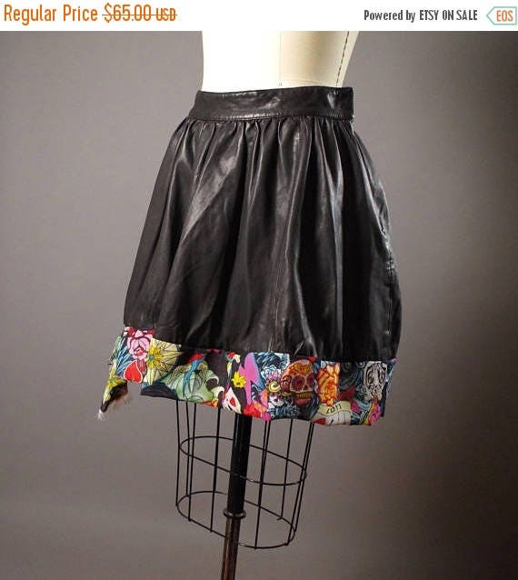 ON SALE Black Vegan Leather Skirt - Up-cycled Black Skirt - Rocker girl - Vegan Leather Skirt -Up-cycled Vegan Leather Skirt