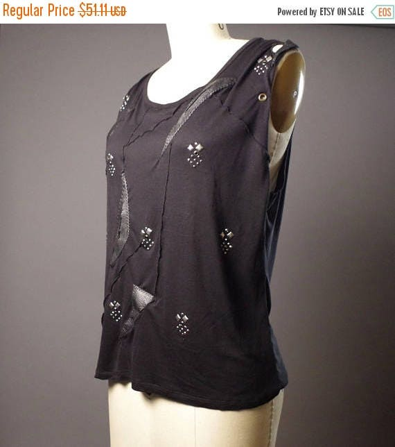 ON SALE SUMMER Sale - Black Leather Tank Top - Black T-shirt -Tooled Black Tank Top - Black rocker tank - Black Tank Tops - Dark Fashion
