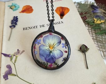Pansy Necklace, Forget me not Necklace, Forget me not Wildflower necklace, Terrarium Necklace Floral necklace,bridesmaid gift