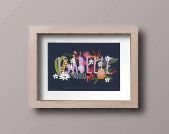 CUSTOM FLORAL NAME, Personalised Flower Print, Australiana, Australian Flowers, Alphabet, Wattle, Banksia, Desert Pea,
