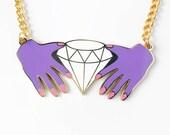 HANDS & DIAMOND NECKLACE