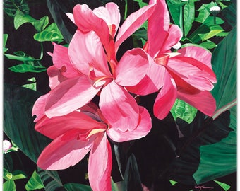 Traditional Wall Art 'Exotic Lilies' by Cathy Pearson - Floral Decor Traditional Lilies Artwork on Metal or Plexiglass