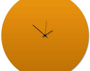 Contemporary Clock 'Orangeout Circle Clock' by Adam Schwoeppe - Original Orange Kitchen Clock Minimalist Wall Decor on Aluminum Polymetal